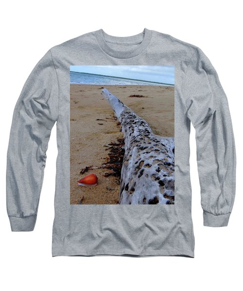 Tree Trunk And Shell On The Beach Full Size Long Sleeve T-Shirt by Exploramum Exploramum
