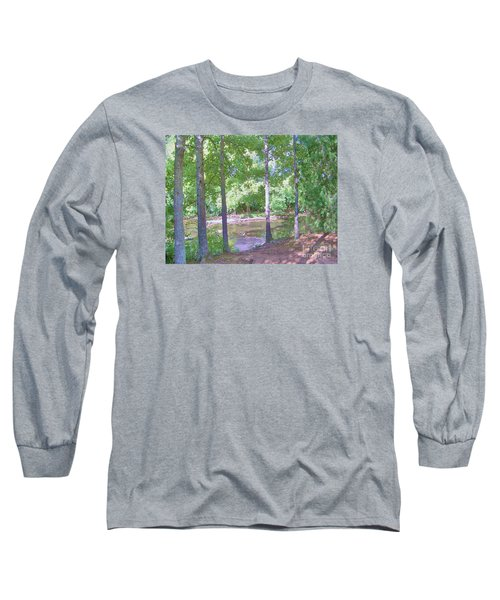 Long Sleeve T-Shirt featuring the photograph Trees At Rivers Edge by Shirley Moravec