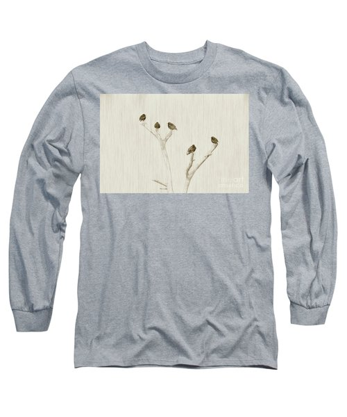 Treetop Starlings Long Sleeve T-Shirt by Benanne Stiens