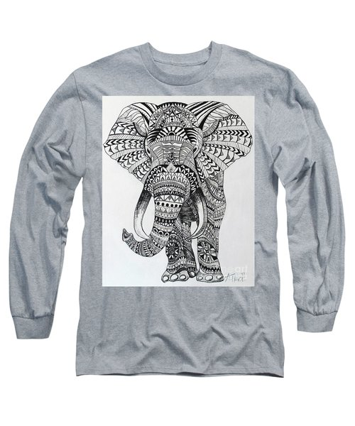 Long Sleeve T-Shirt featuring the painting Tribal Elephant by Ashley Price