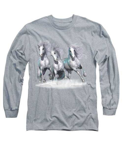 Trinity Galloping Horses Blue Long Sleeve T-Shirt by Shanina Conway