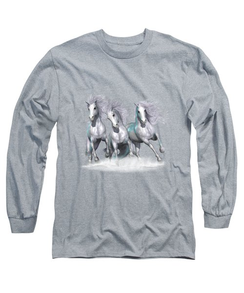 Trinity Galloping Horses Blue Long Sleeve T-Shirt