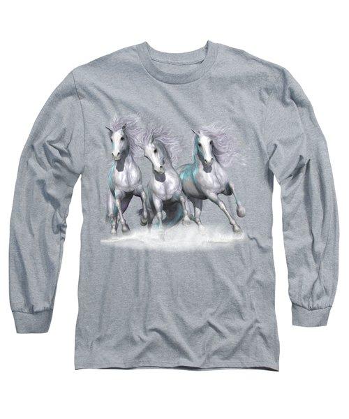 Trinity Galloping Horses Blue Long Sleeve T-Shirt
