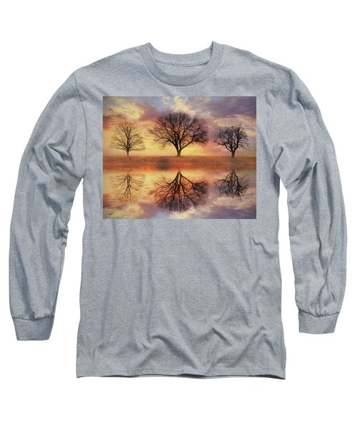 Long Sleeve T-Shirt featuring the mixed media Trio Of Trees by Lori Deiter