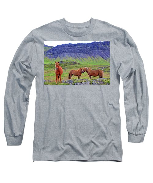 Long Sleeve T-Shirt featuring the photograph Triple Horses by Scott Mahon