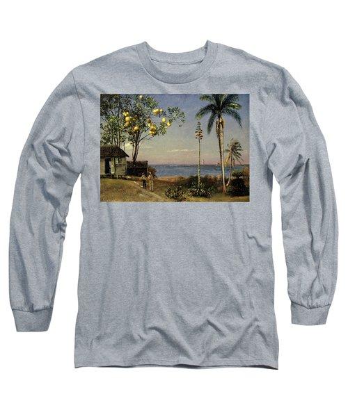 Tropical Scene Long Sleeve T-Shirt by Albert Bierstadt