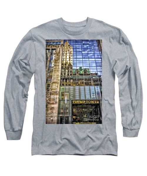Long Sleeve T-Shirt featuring the photograph Trump Tower With Reflections by Walt Foegelle