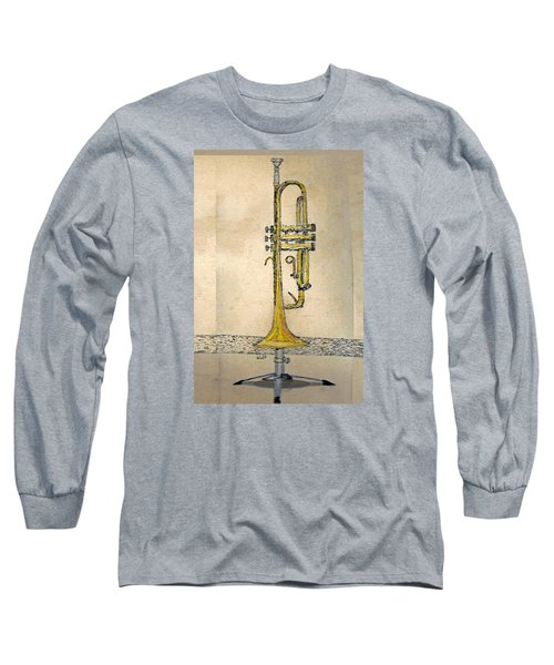 Long Sleeve T-Shirt featuring the digital art Trumpet by Walter Chamberlain