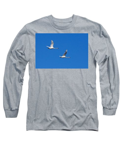 Long Sleeve T-Shirt featuring the photograph Trumpeter Swan 1727 by Michael Peychich
