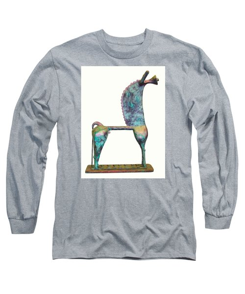 Trumpeting Horse 8 Long Sleeve T-Shirt by Al Goldfarb