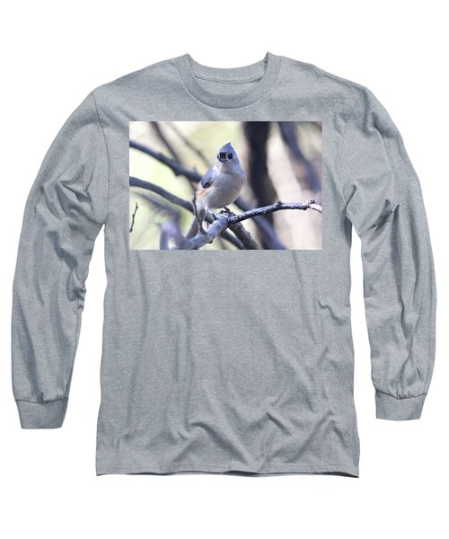 Tufted Titmouse Long Sleeve T-Shirt by Trina Ansel