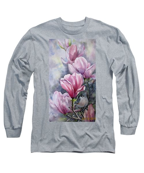 Tulips And Titmouse Long Sleeve T-Shirt