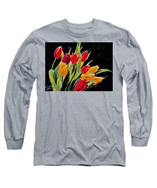 Tulips Colors Long Sleeve T-Shirt by Khalid Saeed