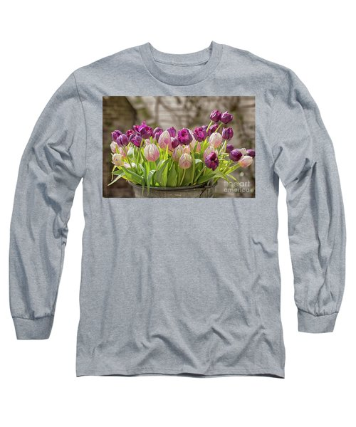 Long Sleeve T-Shirt featuring the photograph Tulips In A Bucket by Patricia Hofmeester