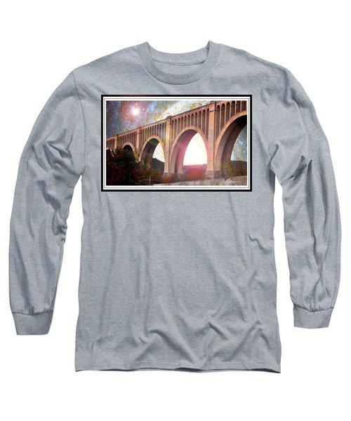 Tunkhannock Viaduct, Nicholson Bridge, Starry Night Fantasy Long Sleeve T-Shirt