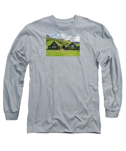 Turf Roof Houses And Shed, Skogar, Iceland Long Sleeve T-Shirt