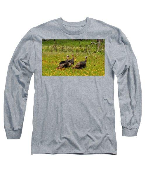 Turkeys In Wildflowers Long Sleeve T-Shirt