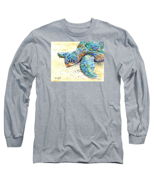 Long Sleeve T-Shirt featuring the painting Turtle At Poipu Beach 4 by Marionette Taboniar