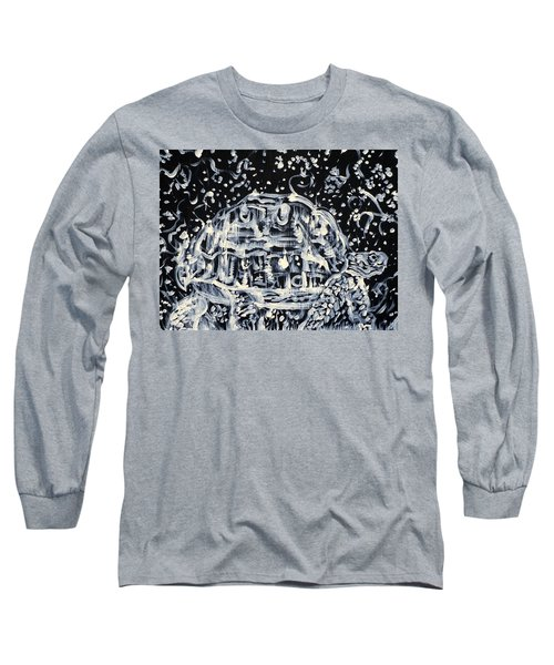 Long Sleeve T-Shirt featuring the painting Turtle Walking Under A Starry Sky by Fabrizio Cassetta