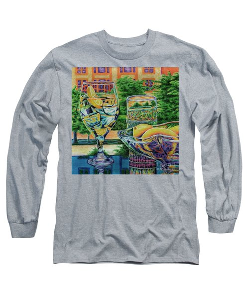 Long Sleeve T-Shirt featuring the drawing Tuscan Summer Lemonade  by Peter Piatt