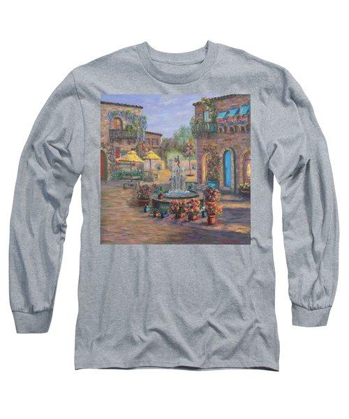 Beautiful Tuscan Villa Flower Garden Fountain Painting Long Sleeve T-Shirt