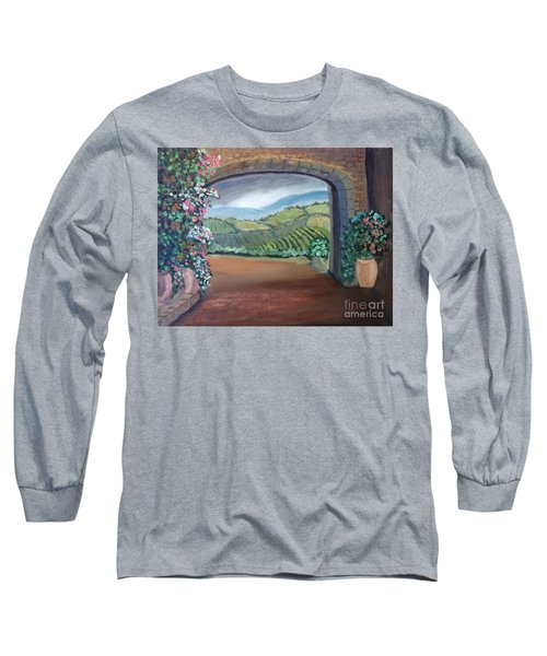 Tuscany Vineyards Through The Archway Long Sleeve T-Shirt