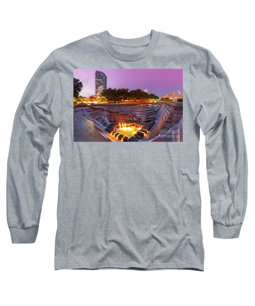 Twilight Glow At Fort Worth Water Gardens - Downtown Fort Worth Texas Long Sleeve T-Shirt