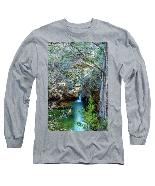 Twin Falls At Peddernales Falls State Park Long Sleeve T-Shirt by Micah Goff