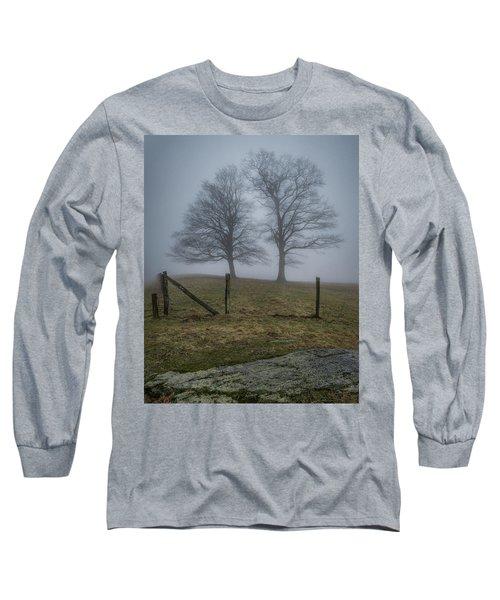 Twin Trees Late Fall Foggy Morning Long Sleeve T-Shirt