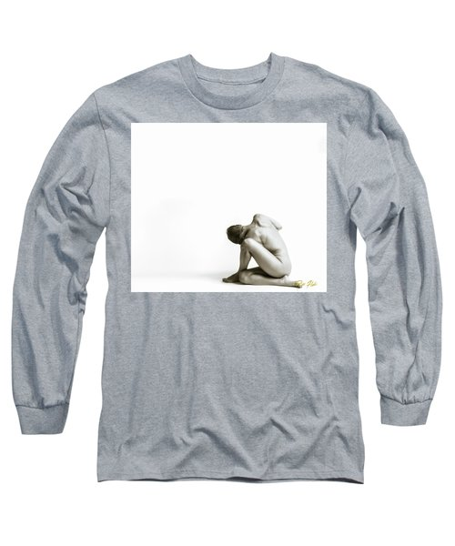 Long Sleeve T-Shirt featuring the photograph Twisted Figure On White by Rikk Flohr