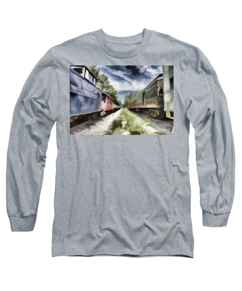 Twixt The Trains Long Sleeve T-Shirt by Roberta Byram