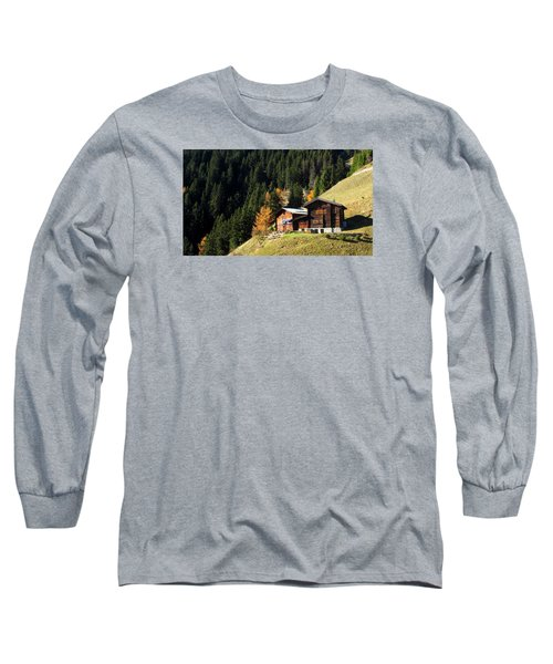 Two Chalets On A Mountainside Long Sleeve T-Shirt by Ernst Dittmar