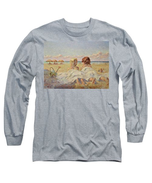 Two Children On The Beach Long Sleeve T-Shirt