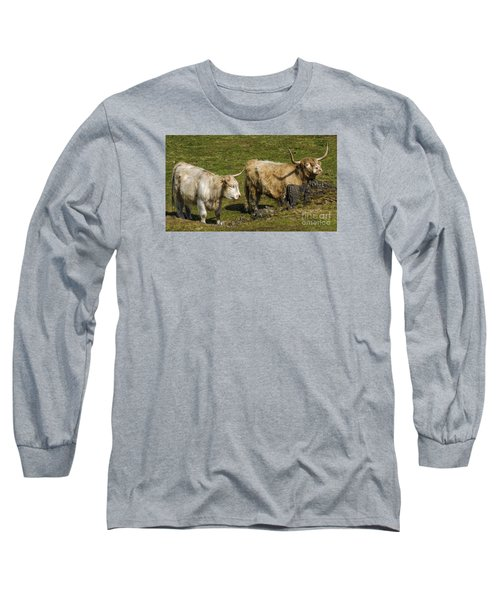 Long Sleeve T-Shirt featuring the photograph Two Coos by Linsey Williams