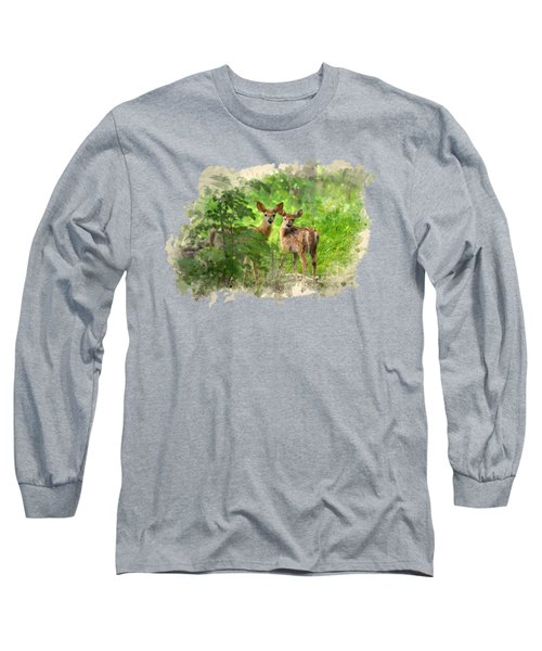 Long Sleeve T-Shirt featuring the mixed media Two Deer Fawns Watercolor Art by Christina Rollo