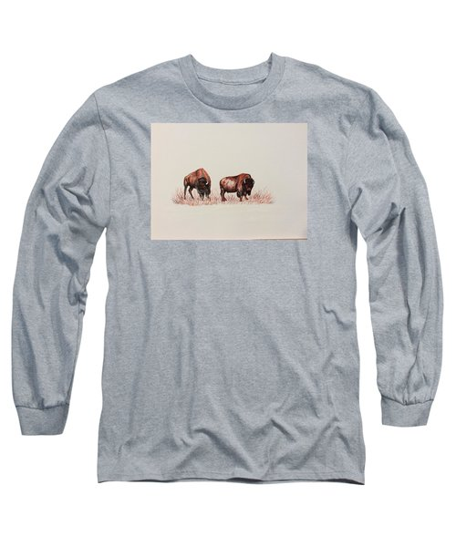 Long Sleeve T-Shirt featuring the drawing Two Grumpy Bisons  by Ellen Canfield