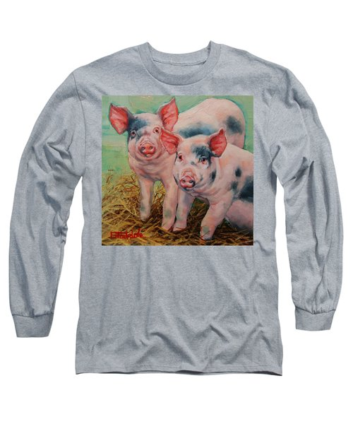 Long Sleeve T-Shirt featuring the painting Two Little Pigs  by Margaret Stockdale