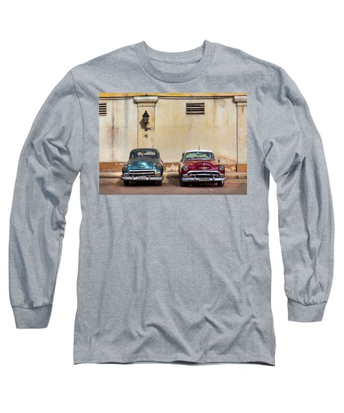Long Sleeve T-Shirt featuring the photograph Two Old Vintage Chevys Havana Cuba by Charles Harden