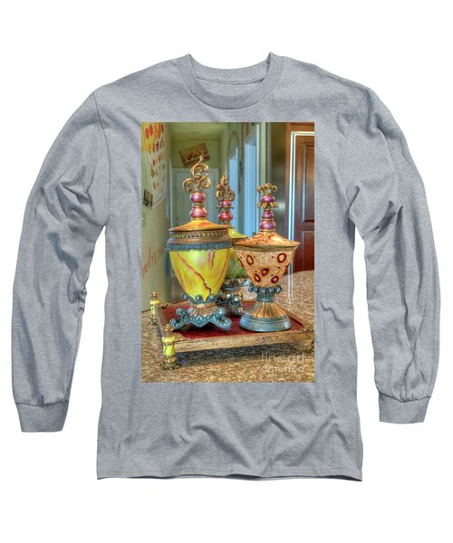 Two Ornate Colorful Vases Or Urns Art Prints Long Sleeve T-Shirt