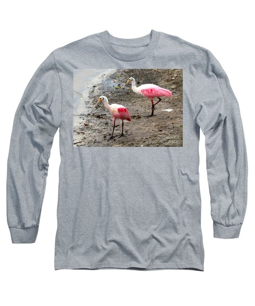 Two Roseate Spoonbills Long Sleeve T-Shirt by Carol Groenen