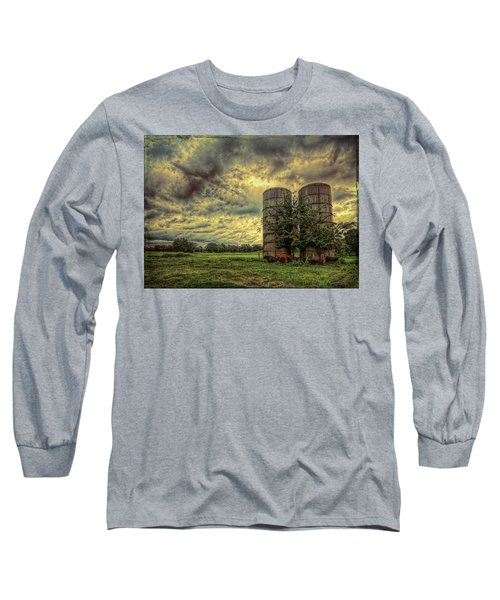 Long Sleeve T-Shirt featuring the photograph Two Silos by Lewis Mann
