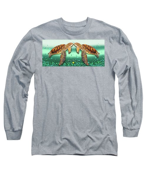 Long Sleeve T-Shirt featuring the painting Two Turtles by Debbie Chamberlin