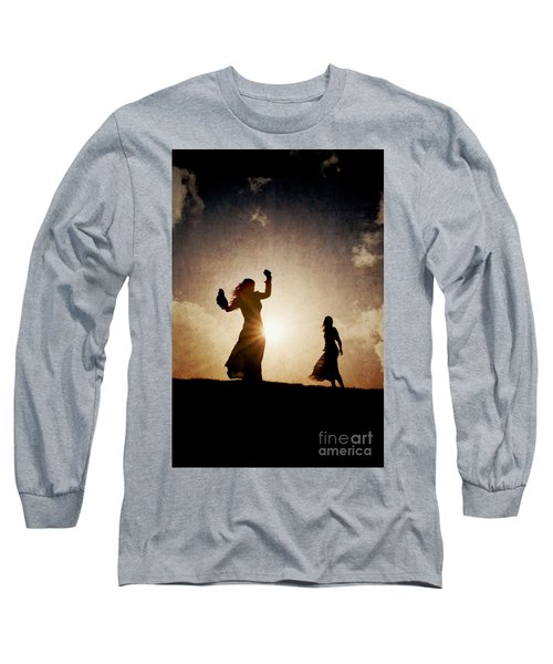 Two Women Dancing At Sunset Long Sleeve T-Shirt