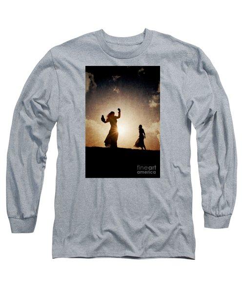 Two Women Dancing At Sunset Long Sleeve T-Shirt