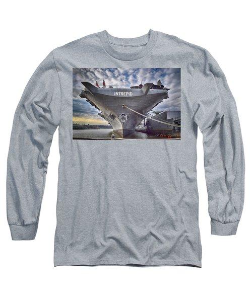 U S S   Intrepid's Bow  Long Sleeve T-Shirt