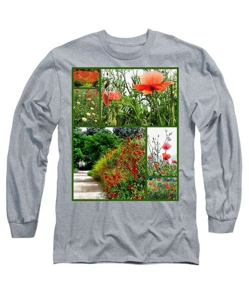 Umbrian Red Poppy Collage Long Sleeve T-Shirt