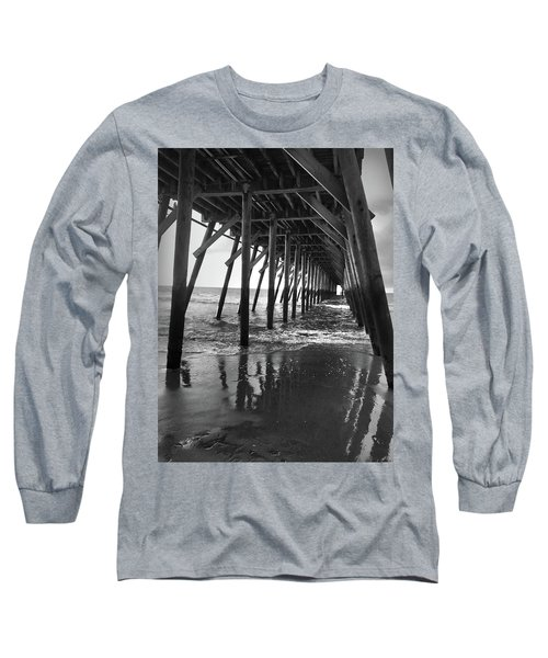 Under The Pier At Myrtle Beach Long Sleeve T-Shirt by Kelly Hazel