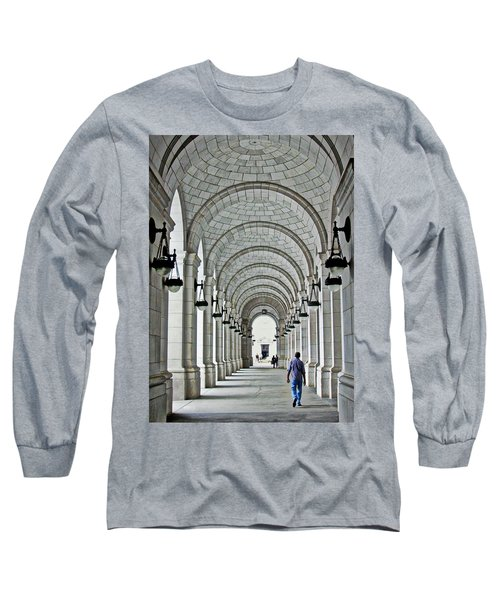 Long Sleeve T-Shirt featuring the photograph Union Station Exterior Archway by Suzanne Stout