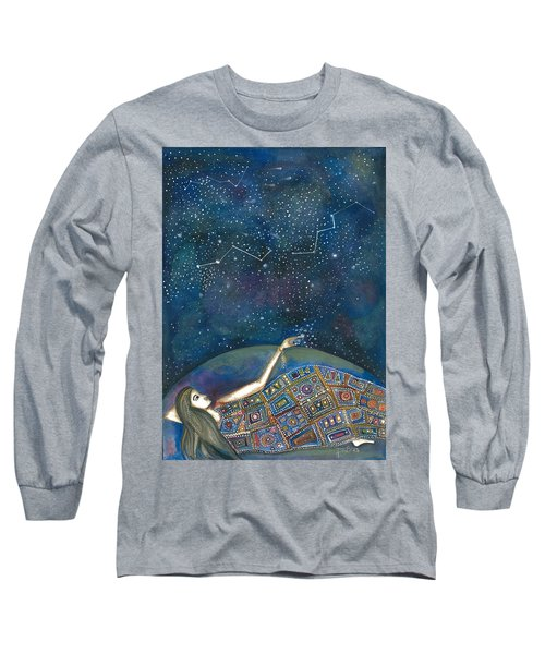 Long Sleeve T-Shirt featuring the mixed media Universal Magic by Prerna Poojara