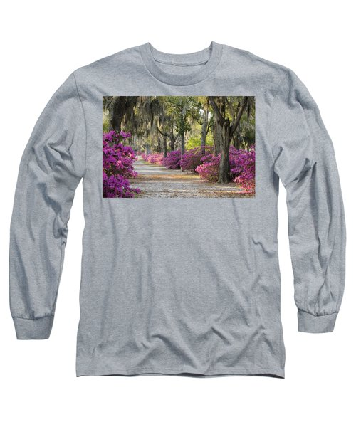 Unpaved Road With Azaleas And Oaks Long Sleeve T-Shirt